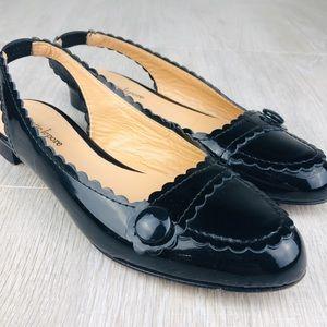 Nanette Lenore Black Patent Leather Slingback Flat